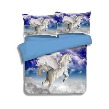 Amazing Lifelike Flying Unicorn Print 4-Piece Polyester Duvet Cover Sets