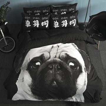 Creative Single Dog Print 4-Piece Polyester Duvet Cover Sets