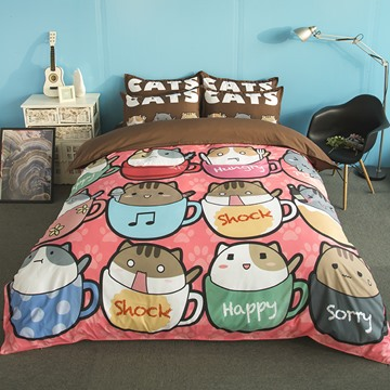 Likable Kittens in Cups Print 4-Piece Polyester Duvet Cover Sets