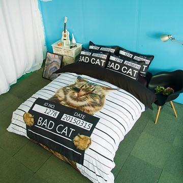 Unique Design Bad Cat Print 4-Piece Polyester Duvet Cover Sets