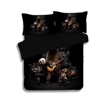 Lifelike Bear and Panda Band Print 4-Piece Polyester Duvet Cover Sets
