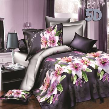 Romantic Pink Lily Print 4-Piece Polyester Duvet Cover Sets