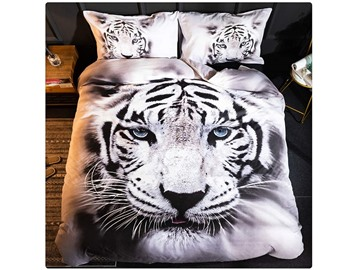 White Tiger 3D 4Pcs Animal Bedding Microfiber Wrinkle/Fade Resistant Duvet Cover Twin Size