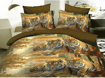 Tiger Couple in the Woods 3D Printed Polyester 4-Piece Bedding Sets