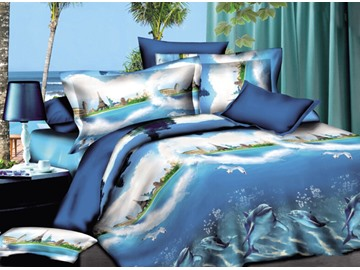 Underwater Dolphins 3D Printed Polyester 4-Piece Bedding Sets