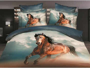 Brown Wild Horse 3D Printed Polyester 4-Piece Bedding Sets