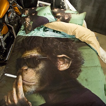 3D Smoking Monkey Printed Polyester 4-Piece Bedding Sets/Duvet Covers