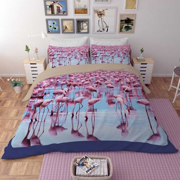 3D Tropical Flamingo by the Sea Printed Polyester 4-Piece Bedding Sets/Duvet Covers