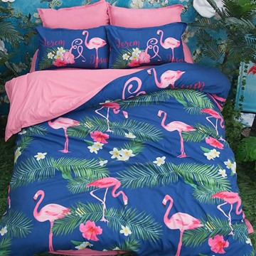 3D Pink Flamingo and Green Leaves Printed Polyester 4-Piece Bedding Sets/Duvet Covers
