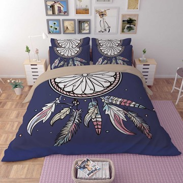 3D Dream Catcher Printed Polyester 4-Piece Blue Bedding Sets/Duvet Covers