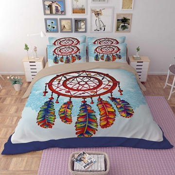 3D Colorful Dream Catcher Printed Polyester 4-Piece Bedding Sets/Duvet Covers