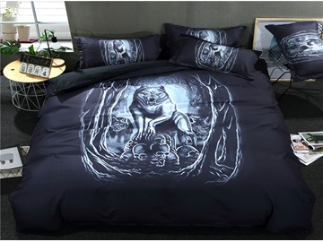 3D Roaring Lion in the Jungle Printed Polyester 3-Piece Bedding Sets/Duvet Covers