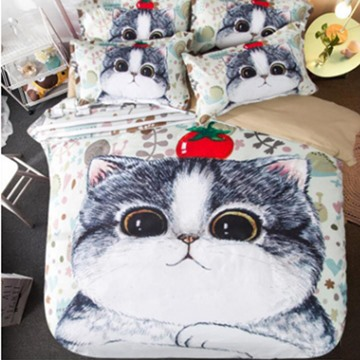 Cute Little Kitty 3D Print 4-Piece Polyester Duvet Cover Sets