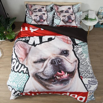 Super Dog Animal Design 3D Reactive Printed Polyester 4-Piece Bedding Sets/Duvet Covers