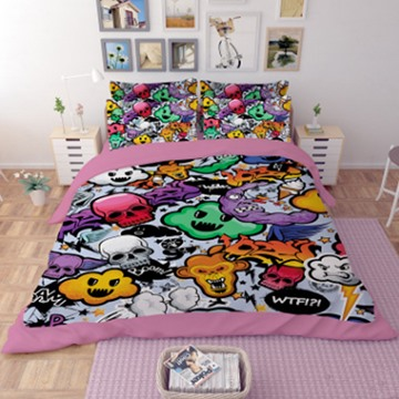 Various Expressions Polyester 3D Reactive 4-Piece Bedding Sets/Duvet Covers