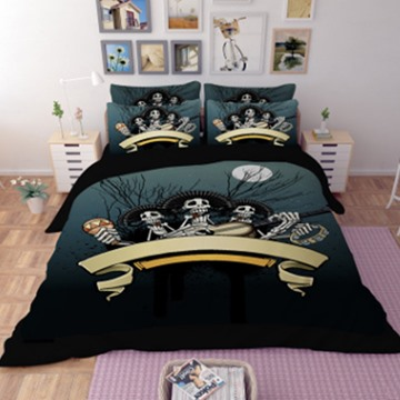 Human Skeletons Play the Guitar Under the Moon 3D Printed Polyester 4-Piece Bedding Sets/Duvet Covers