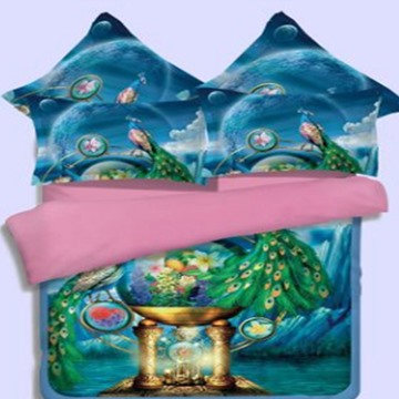 3D Animal Peacock Design Printed Polyester 4-Piece Bedding Sets/Duvet Covers