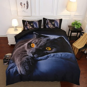 3D Black Cat Digital Printing 4-Piece No-fading Endurable Skin-friendly All-Season Duvet Cover Bedding Sets