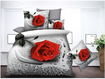 Red Rose & Water Droplets Printing Polyester 3D 4-Piece Bedding Sets/Duvet Covers