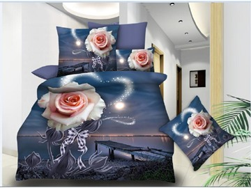 Pink Rose and Night View Printing Polyester 3D 4-Piece Bedding Sets/Duvet Covers