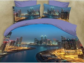 City Night View and River Printing Polyester 3D 4-Piece Bedding Sets/Duvet Covers