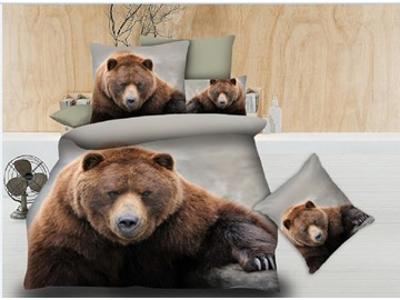 Wild Bear Digital Printing Polyester 4-Piece 3D Bedding Sets/Duvet Covers