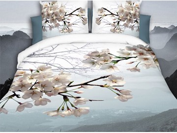 Peach Blossom Digital Printing Polyester 4-Piece 3D Bedding Sets/Duvet Covers