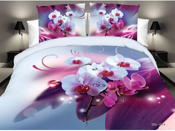 Flower and Water Digital Printing Polyester 4-Piece 3D Bedding Sets/Duvet Cover