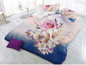 Pink Rose and Flower Blooming Printing Polyester 4-Piece 3D Bedding Sets /Duvet Cover