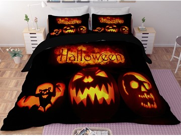 Orange Pumpkin Lantern Halloween 3-Piece 3D Bedding Sets/Duvet Covers