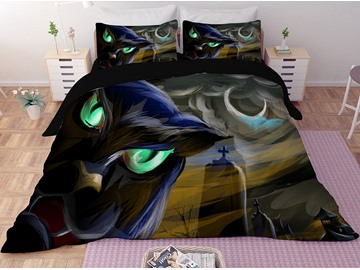 Black with Green Eyes Printing Halloween 3-Piece 3D Bedding Sets/Duvet Covers