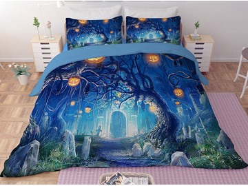 Halloween Pumpkin Lantern Blue Printing 3-Piece 3D Bedding Sets/Duvet Covers