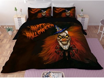 Fierce Red Monster Printing Halloween 3-Piece 3D Bedding Sets/Duvet Covers