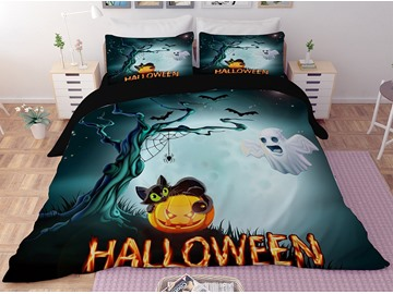 Black Cat and Jack-o-lanterns Halloween 3-Piece 3D Bedding Sets/Duvet Covers