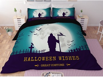 Grim Reaper and Headstones Printing 3-Piece 3D Bedding Sets/ Duvet Covers