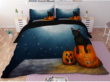 Pumpkin Lantern and Moon Halloween 3-Piece 3D Bedding Sets/Duvet Covers