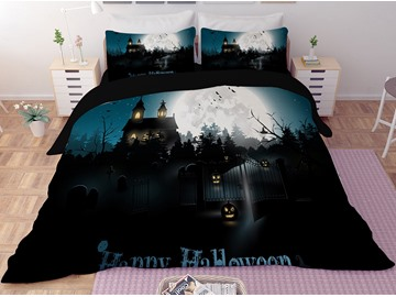 Halloween Pumpkin Lantern and Castle Dark Printing 3-Piece 3D Bedding Sets/Duvet Covers