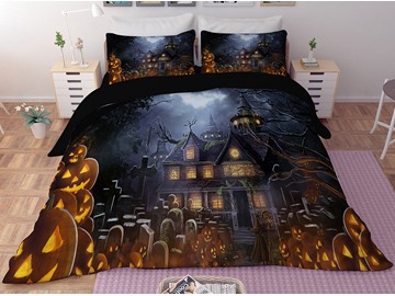 Halloween Pumpkin and House Printing 3D Polyester 4-Piece Bedding Sets/Duvet Covers