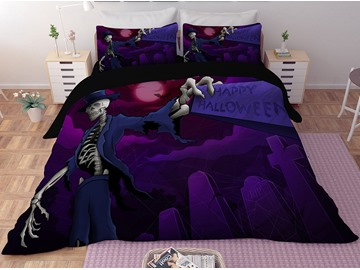 Human Skeleton and Headstones Halloween Purple 3D Polyester 4-Piece Bedding Sets/Duvet Covers