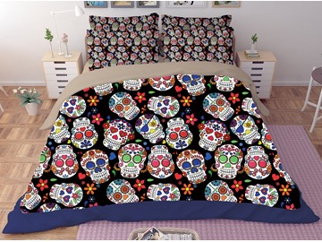 Multi Color Skull Printing Polyester 3D 3-Piece Bedding Sets/Duvet Covers