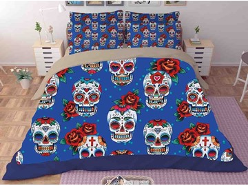 Skull with Red Rose Royal Blue Printing Polyester 3D 3-Piece Bedding Sets/Duvet Covers
