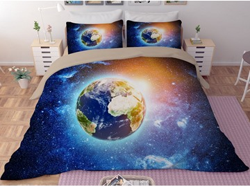 Blue Earth Galaxy Printing Polyester 3D 3-Piece Bedding Sets/Duvet Covers