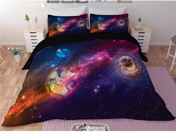Planets Purple Galaxy Printing Polyester 3D 3-Piece Bedding Sets/Duvet Covers