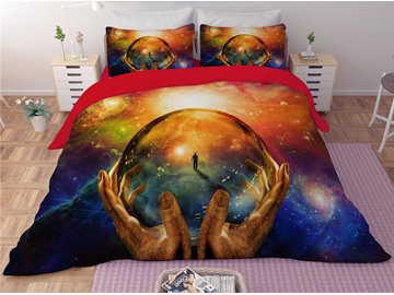 The Planet is in Your Hands Printing Polyester 3D 3-Piece Bedding Sets/Duvet Covers