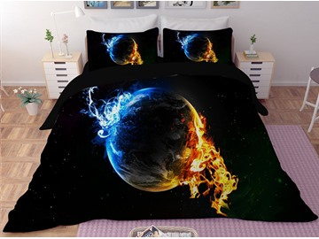 Planet with Blue and Golden Fire Printing Polyester 3D 3-Piece Bedding Sets/Duvet Covers