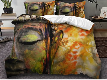 Golden Zen Peace Meditation Design 3D 3-Piece Bedding Sets/Duvet Covers