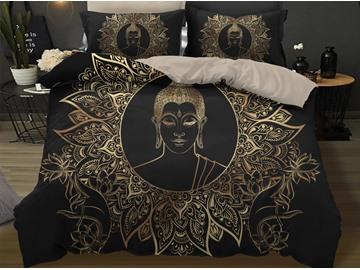 Golden Buddha Head Bergamot Lotus Design 3D 3-Piece Bedding Sets/Duvet Covers
