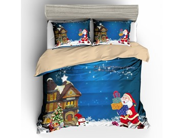 Santa Holding Gifts and House Printed 3D 3-Piece Bedding Sets/Duvet Covers
