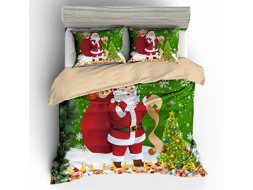 Santa Carrying Gifts and Christmas Tree 3D 3-Piece Bedding Sets/Duvet Cover