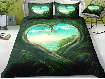 Green Tree Heart Shaped and Blue Sky Printed 3-Piece 3D Bedding Sets/ Duvet Covers